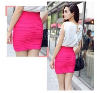 Summer Cool Women Sexy Mini Skirt Slim Fit Seamless Stretch Tight Fitted Skirt