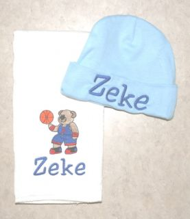 Personalized Baby Burp Cloth Hat Set Embroidered BLSVL