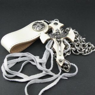 W126 Steel Key Wallet Heavy Chain Cream White Leather Skull Tag Punk Men Women