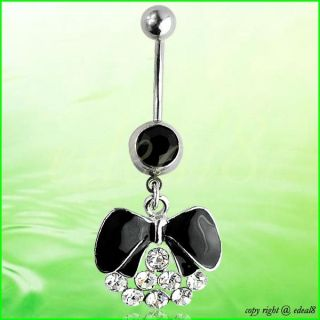 Goblet Flower Apple Dangle Rhinestone Body Piercing Jewellery Navel Belly Ring