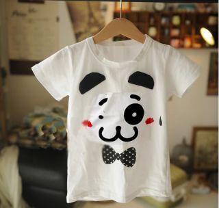 Fashion Children Child Girls Kids Apparel White T Shirt 100 110 120 130 140cm