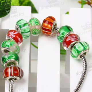 Various Handmade Lampwork Murano Glass Beads Fit European Charm Bracelet Colors