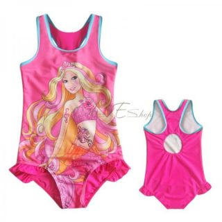 Girl Kid Barbie Swimsuit Swimming Costume Beachwear Bathing Suit Swimwear Sz 3 8