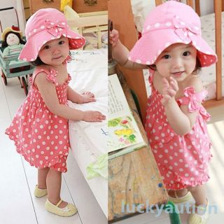 Kids Baby Girl Pink Dot 3pcs Dress Pants Hat Set Outfit Costume Clothes 0 36M
