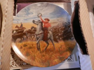 Edwin Knowles China Decor Plate Collector Cowboy Oklahoma 507 F