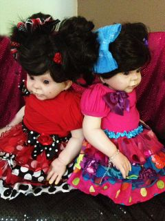 "Reborn Toddler Baby Girl Doll Twins ""Donna RuBert Kit"" Pierced Ears Big Wardrobe"