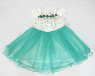 NTW Kids Girls Quality Princess Evening Wedding Ball Party Dress Pink Green 3 8T