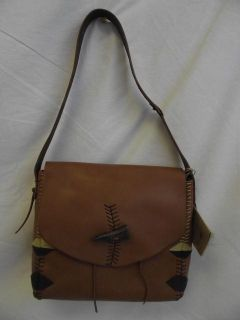 Lucky Brand Laguna Canyon Dark Camel Leather Shoulder Bag Purse Handbag