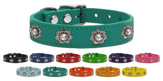 Jewel Flower Leather Pet Dog Collar Variety of Colors and Sizes