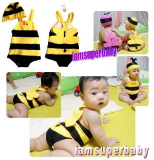 New Baby Bee Summer Character Swim Suit Hat Set 6 30mos