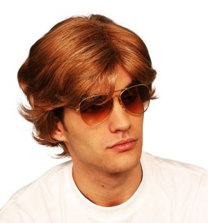 Brown Wig 80s Pop Star George Michael Wham Car Sales Man Fancy Dress