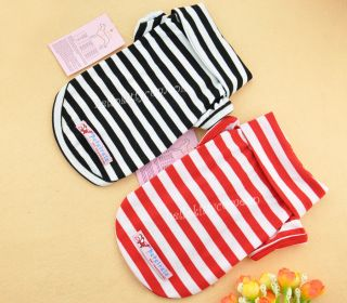 Hot Sale Polar Shirt Puppy Dog Clothes Pet Apperal 100 Cotton Stripes T Shirt