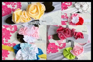 Baby Girl Fabric Flower Shabby Chic Headband Pink White Lemon Blue 7 Colours