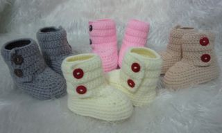 Lovely Cute Handmade Crochet Shoes Newborn Baby Girl Boy Photograph 4 Color K19
