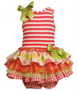 Bonnie Baby Infant Girls Knit Stripe Bodice Multi Tier Drop Waist Dress 3 6 M