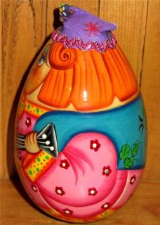 Russian Wooden Egg Wobbly Doll Roly Poly Skomorokh Balalaika Easter Baby Gift