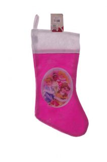 Disney Princess Girls Pink Christmas Stocking Cinderella Belle Ariel Tiana New