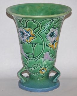 Roseville Pottery Morning Glory Green Vase 726 8 Clean Estate Fresh No Res