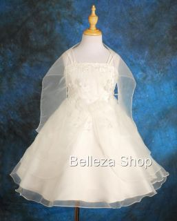 White Wedding Flower Girls Pageant Formal Dress w Shawl Toddler Size 3 4T FG028
