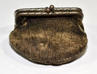 Coin Change Purse Civil War Era Greek Roman Soldier Antique Metal Leather 1800