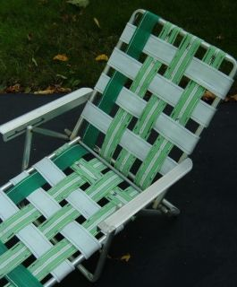 Vintage Child's Web Chaise Lounge Lawn Chair Recliner