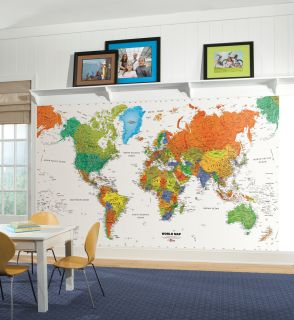 RoomMates MP4945M World Map Chair Rail Mural Stickers Wall Decor 6' x 10 5'