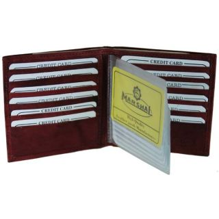 Mens Leather Wallet Credit Card Case Bifold Burgundy Wine  New 250
