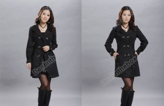 Womens Ladies Fashion Slim Fit Trench Double Breasted Coat Jacket Outwear