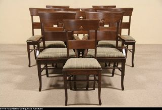 Set of 12 Quarter Sawn Oak 1900 Antique Dining Chairs 2 Arm Chairs