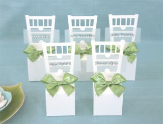 12 White Chair Wedding Place Card Holder Favor Treat Box Container
