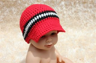 New Handmad Knit Crochet Baby Boy Brimmed Hat Newsboy Cap Newborn Photo Prop