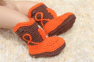 New Handmade Knit Crochet Cowboy Baby Boots Shoes Newborn Photo Prop 16 Color