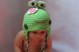 New Cute Cotton Handmade Baby Knit Crochet Frog Hat Cap Newborn Photo Prop Gift