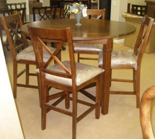 5 PC Lifestyle Cherry Counter Height Drop Leaf Pub Table Chairs Dining Set