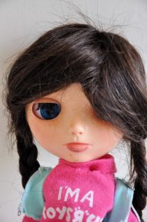 Human Hair Dark Brown Braided Doll Wig Blythe