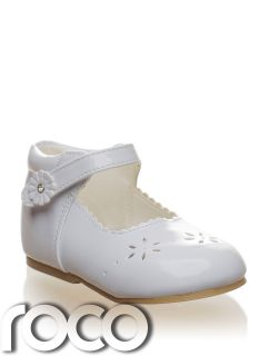 Baby Girl White Floral Communion Bridesmaid Flowergirl Party Shoes Infant 1 6 UK