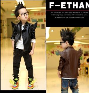 Hot Trendy Baby Toddler Boys Girls Faux Leather Back Angel Wing Coat Kids Jacket