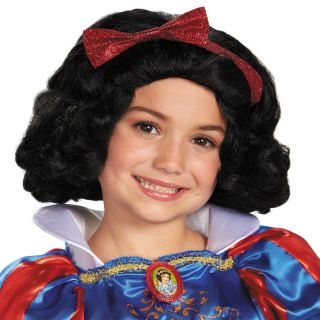 Child Movie Disney Princess Snow White The Seven Drarfs Black Hair Costume Wig