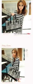 Fashion Women Fuax Leather Canvas Leopard Shoulder Handbag Purse Hobo 2 Color
