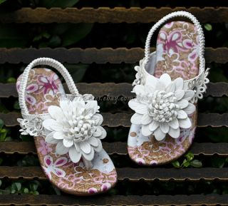 Kids Girls White Daisy Flower Flip Flops Sandals Child Size 9 10 10 11 11 12 13