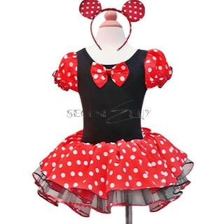 Baby Girl Minnie Mouse Polka Dots Party Dress Costume Ballet Tutu Xmas Size 2T