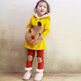Baby Girl`s Teddy Bear Hoodie Pants Set Suit Coat Sweatshirts Age 2 7 Years