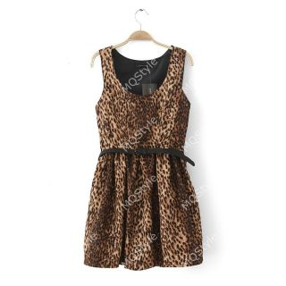 Womens Girls Fashion Leopard Crewneck Sleeveless Sexy Mini Dress B2842