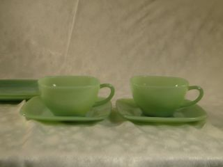 6 PC Set Hocking  fire King Jadite Square Charm 2 Cups 4 Saucers Jadeite Green