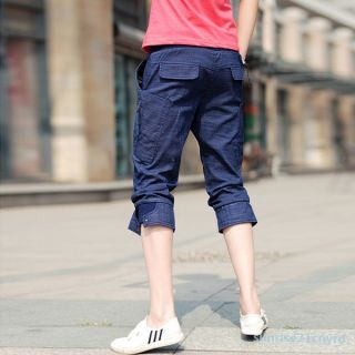 Vintage Mens Korean Slim Jeans Skinny Pencil Trousers Pants Shorts Underwear New