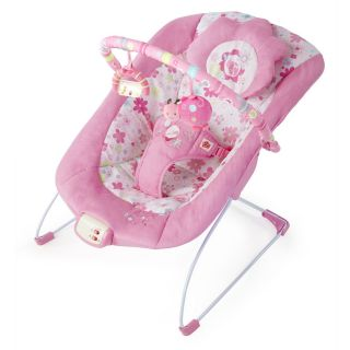 Bright Starts Pink Blossomy Blooms Flower Ladybug Musical Bouncer Seat Chair
