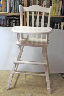 Vintage Wooden Baby Toddler Pink High Chair