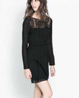 Womens Fashion Crewneck Deep V Back Hollow Lace Splice Sexy Mini Dress B4096