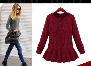 Womens European Fashion Crewneck Twisted Hem Knit Dress Sweaters B3656MS