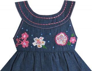 Baby Girls Dress Navy Blue Cake Dress Embroider Flower Child Boutique Sz 12M 3